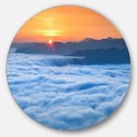 Designart 'Sunrise Over Misty Sea Waters' Landscape Photo Round Metal Wall Art