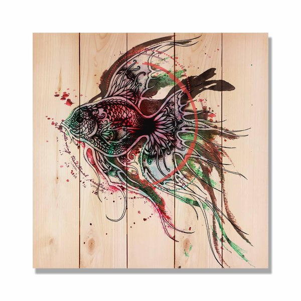 Colorful Purple Fish 17x17 Indoor Outdoor Full Color Cedar Wall Art