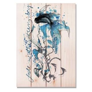 Colorful Blue Fish 14x20 Indoor/Outdoor Full Color Cedar Wall Art