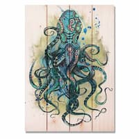 Colorful Blue Octopus 14x20 Indoor/Outdoor Full Color Cedar Wall Art