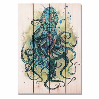 Colorful Blue Octopus 14x20 Indoor/Outdoor Full Color Wall Art