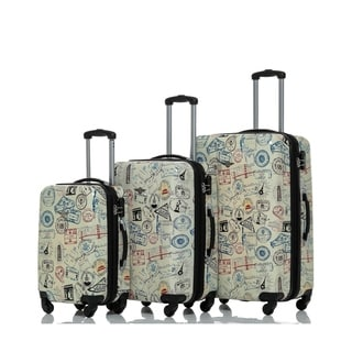 Rivolite World Stamps 3-piece Expandable Hardside Spinner Luggage Set