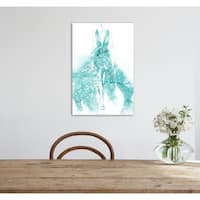 Oliver Gal 'Night For Stars Blue Peacock' Canvas Art