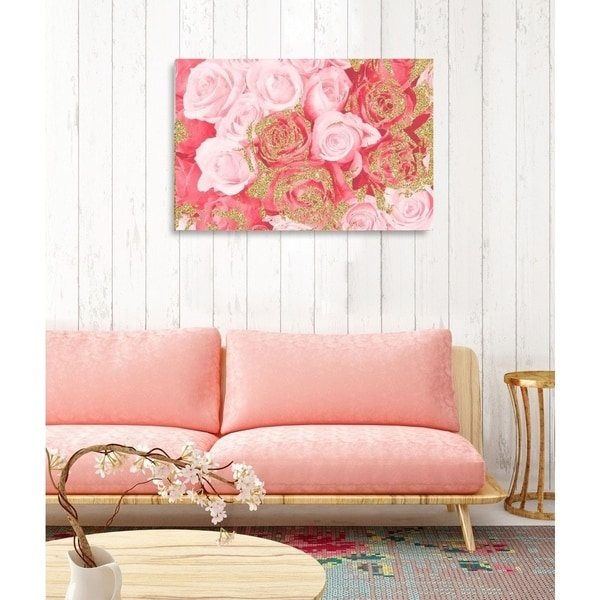 Oliver Gal 'Crimson Rose Gold' Fashion Florals Gallery Wrapped Canvas Art - pink, gold