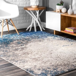 nuLOOM Vintage Inspired Abstract Fancy Vibrant Blue/Grey Rug (5'3 x 7'7)