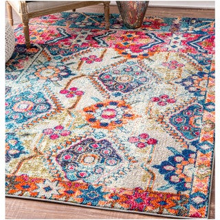nuLOOM Traditional Inspired Abstract Floral Vibrant Multi Rug (5'3 x 7'7)