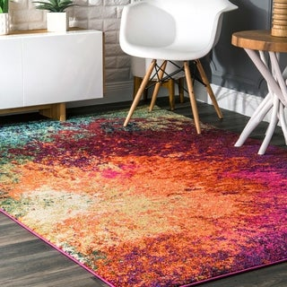 nuLOOM Vintage Inspired Abstract Fancy Vibrant Multi Rug (7'10 x 11')