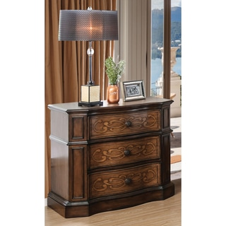 Furniture of America Palms Wooden Laser Cut Warm Chestnut 3-drawer Nightstand