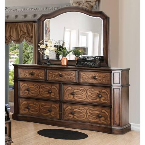 Furniture of America Yae Brown 2-piece Dresser and Mirror Set