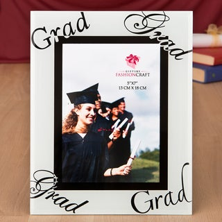Graduation White/Black Glass 5 x 7 Picture Frame