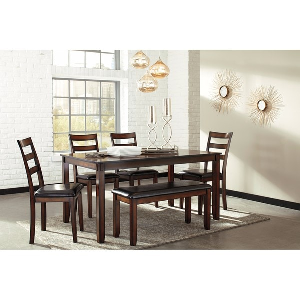 Signature Design by Ashley Coviar Brown 6-Piece Dining Room Table ...