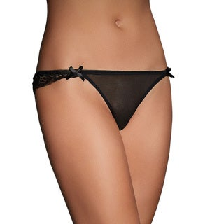 Black Lace and Mesh Keyhole and Multiple Satin Bow Detailed Brief