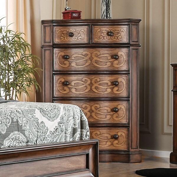 Furniture Of America Palms Wooden Laser Cut Warm Chestnut 6 Drawer Chest