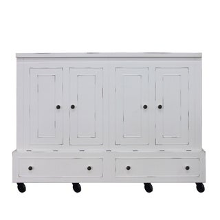 Queen Size Mobile Murphy Bed in Antique White