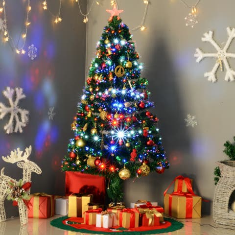 5' H Artificial Holiday Pre-Lit Fiber Optic / LED Light-Up Christmas Tree, 180 Tips, 180 LEDs, 8 Light Settings, Stand