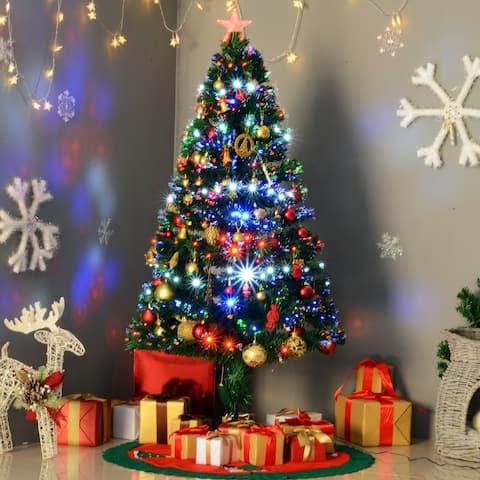 5' Artificial Holiday Pre-Lit Fiber Optic / LED Light-Up Christmas Tree, 180 Tips, 180 LEDs, 8 Light Settings, Stand