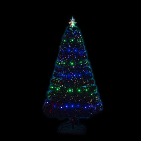Hom 5' Artificial Holiday Fiber Optic Light Up Christmas Tree