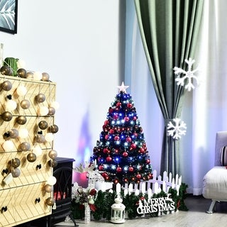 HomCom 4 ft Tall Artificial Fiber Optic LED Pre-Lit Holiday Christmas Tree