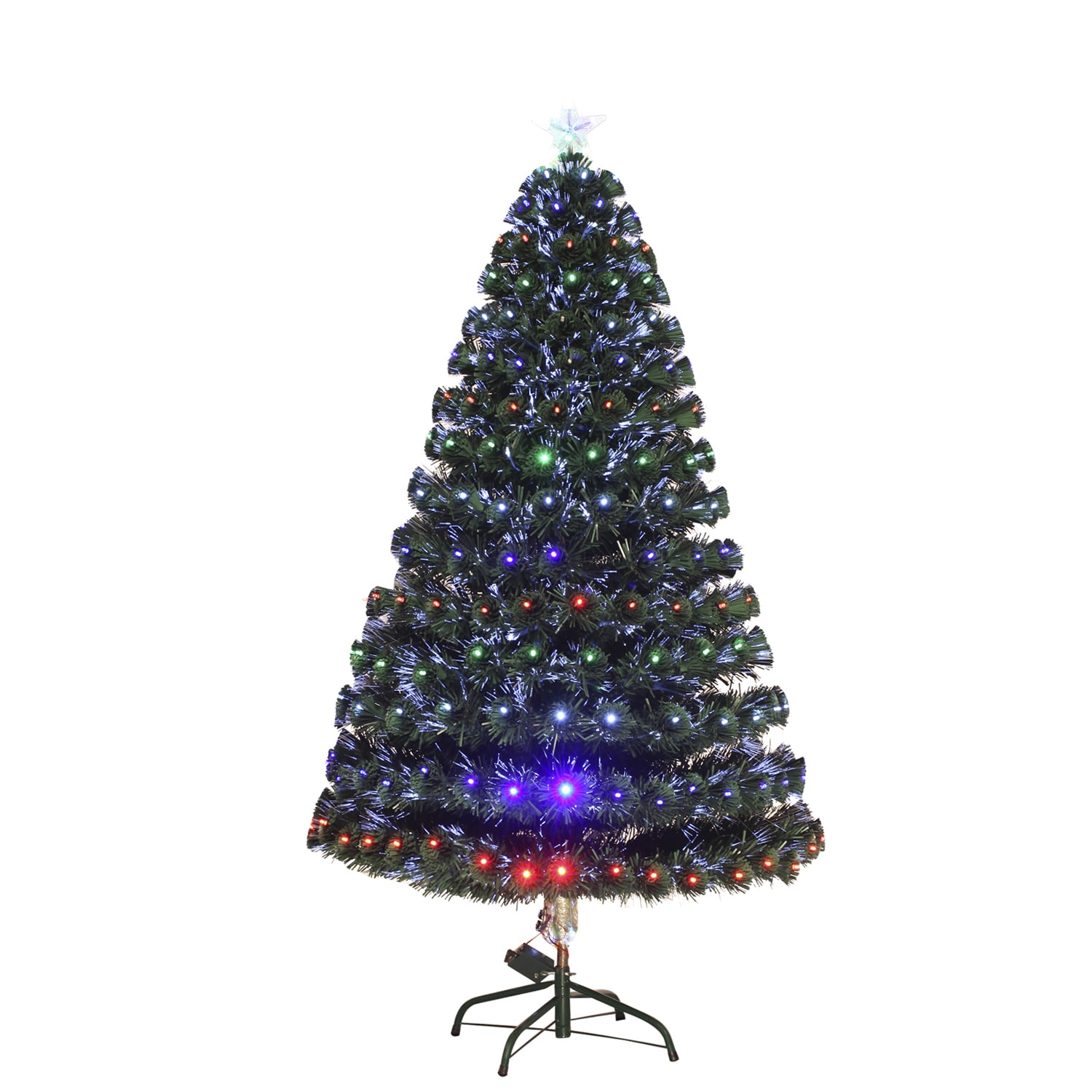 new style 7b2b8 3ef7d HomCom 3 Foot Tall Pre-Lit Artificial Fiber Optic LED Lit Christmas Tree  Holiday