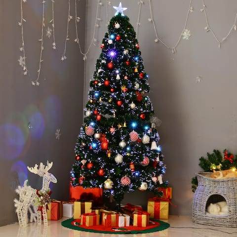 Aritifical Pre-Lit Fiber Optic LED Holiday Christmas Tree, 28 LED Lights, 230 Tips, Stand - 6 Foot