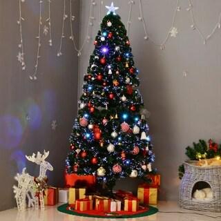 HomCom 6' Indoor Artificial Fiber Optic Light Up Holiday Xmas Decoration Christmas Tree