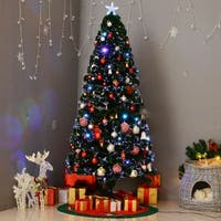 HomCom 6' Indoor Artificial Fiber Optic Light Up Holiday Xmas Decoration Christmas Tree