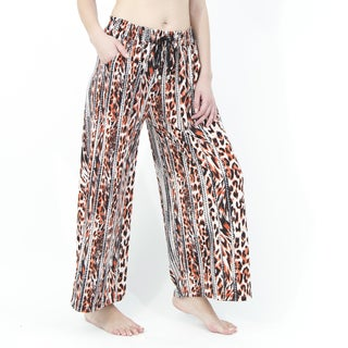 Indero Women's Polyester and Spandex Leopard Print Palazzo Pants