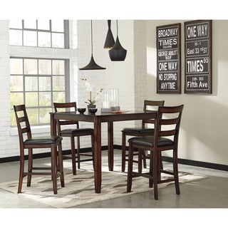 Coviar Brown 5-Piece Counter Table Set