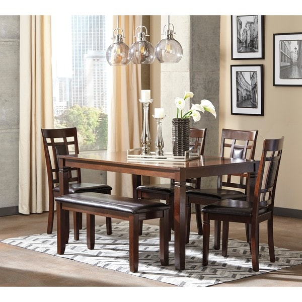 Signature Design By Ashley Bennox Brown 6 Piece Dining Room Table Set    Free Shipping Today   Overstock.com   20842048