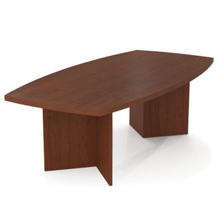 """Bestar Boat-Shaped Conference Table with 1 3/4"""" Top Surface (Option: Bordeaux)"""