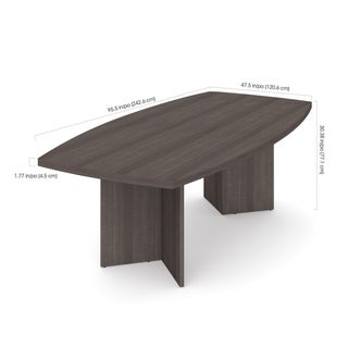 """Bestar Boat-Shaped Conference Table with 1 3/4"""" Top Surface"""