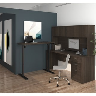 Bestar Embassy L-Desk with Hutch including Electric Height Adjustable Table