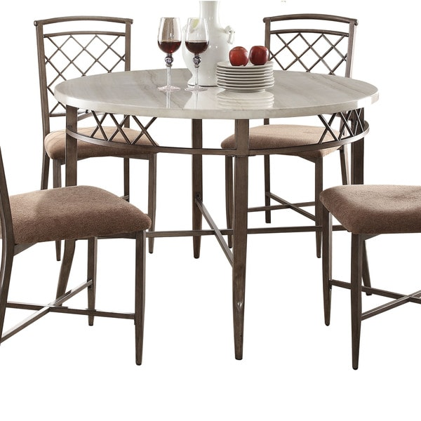Shop Acme Furniture Aldric White Faux Marble Dining Table Free
