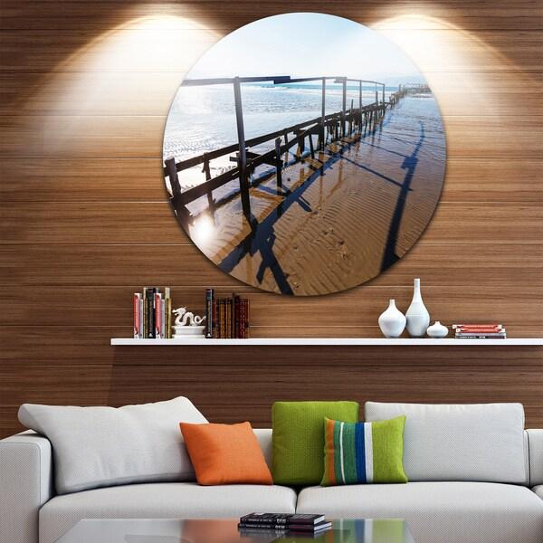 Designart 'Wooden Boardwalk on Beach' Sea Bridge Large Disc Metal Wall art