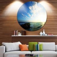 Designart 'Evening Sea with Calm Waters' Modern Beach Round Wall Art