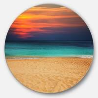 Designart 'Sand to Sky Colorful Seashore' Modern Beach Disc Metal Artwork