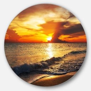 Designart 'Colorful Dramatic Sunset over Waves' Modern Beach Disc Metal Wall Art