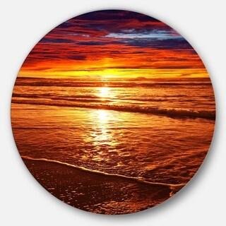Designart 'Colorful Sunset Mirrored in Waters' Modern Beach Round Metal Wall Art