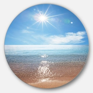 Designart 'Serene Seascape with Bright Sun' Modern Beach Disc Metal Artwork