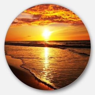 Designart 'Bright Yellow Sunset over Waves' Modern Beach Disc Metal Wall Art