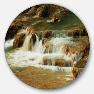 Designart 'Waterfall Cascade with White Waters' Modern Landscape Circle Wall Art