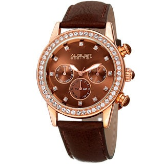 August Steiner Women's Multifunction Dual Time Swarovski Crystal Rose-Tone/ Brown Leather Strap