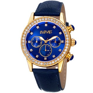 August Steiner Women's Multifunction Dual Time Swarovski Crystal Gold-Tone/ Blue Leather Strap