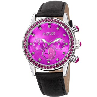 August Steiner Women's Multifunction Dual Time Swarovski Crystal Silver-Tone/ Pink Leather Strap