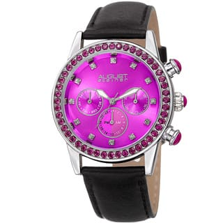 August Steiner Women's Multifunction Dual Time Swarovski Crystal Elements Silver-Tone/ Pink Leather Strap|https://ak1.ostkcdn.com/images/products/14253702/P20842144.jpg?impolicy=medium