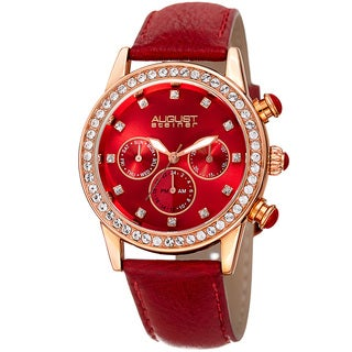 August Steiner Women's Multifunction Dual Time Swarovski Crystal Elements Rose-Tone/ Red Leather Strap with FREE GIFT