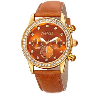 August Steiner Women's Multifunction Dual Time Swarovski Crystal Gold-Tone/ Tan Leather Strap