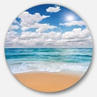 Designart 'Peaceful Seashore under White Clouds' Modern Beach Circle Wall Art