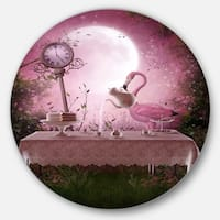 Designart 'Fantasy Garden with a Flamingo' Modern Landscape Large Disc Metal Wall art