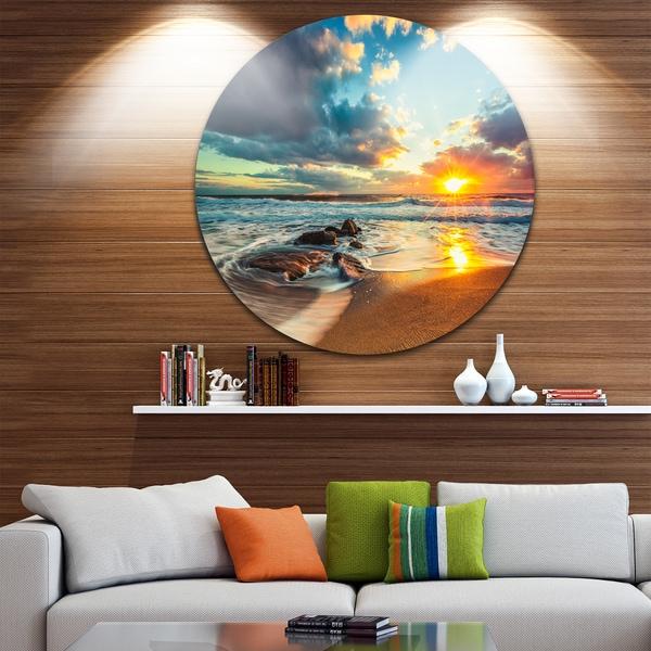 Designart 'Beautiful Cloudscape over the Sea' Modern Beach Circle Wall Art